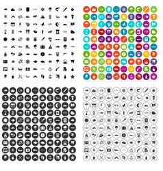 100 marine environment icons set variant vector