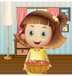 A girl with basket of berries inside the house vector