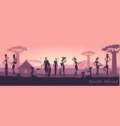 African men and women against the landscape vector