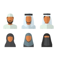 Arabic man and woman set vector image