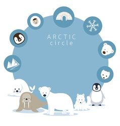 Arctic Animals and Icons Frame vector