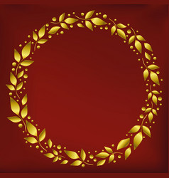 Background with circle frame of golden leaves vector