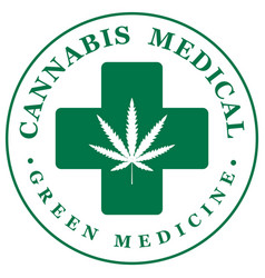 Banner for medical marijuana with cannabis leaf vector