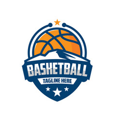 basketball emblem logo design template vector image