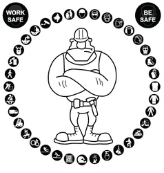 Black circular Health and Safety Icon collection vector