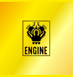 Black engine power emblem vector