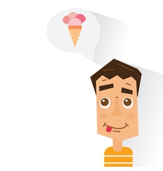 Boy dreaming about ice cream vector image