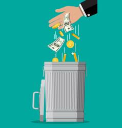 Businessman hand putting dollar bills in trash vector
