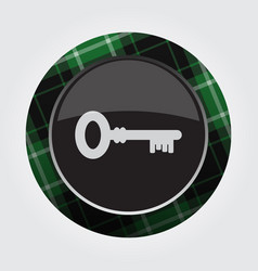 Button with green black tartan - key icon vector