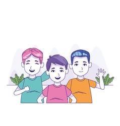Cartoon boys with colorful tshirts vector
