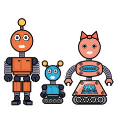 Cartoon robots family icon vector
