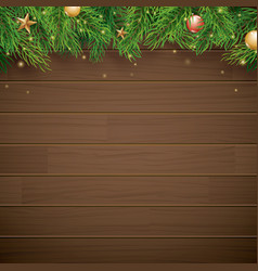 christmas background with fir branch on brown vector image