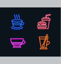 coffee cup bombon coffee and hamburger icons tea vector image