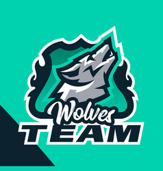 Colorful emblem of the howling wolf logo badge vector
