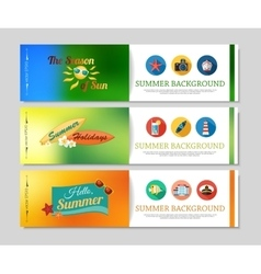 Colorful summer holidays and travel banners vector