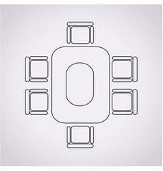 Conferance business table icon vector