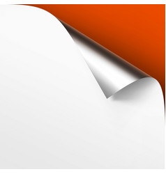 Curled metallic silver corner of white paper vector