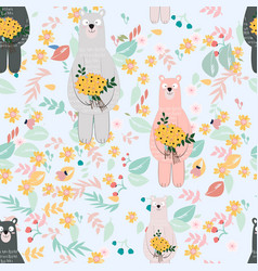 cute cartoon teddy bear in wild flower garden vector image
