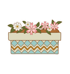 cute flowers and leafs in pot garden vector image