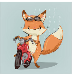 Cute fox on bike vector