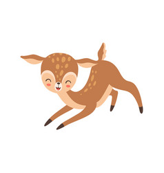 Cute happy baby deer lovely forest fawn animal vector