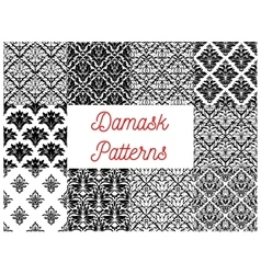 Damask seamless patterns of victorian flourishes vector image