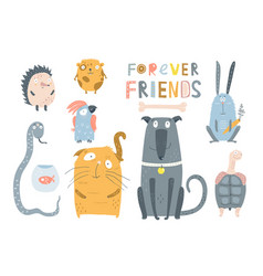 Domestic pets animals collection vector