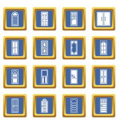 door icons set blue vector image