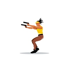 Dual wield sign girl with two guns shooting vector