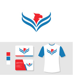 eagle logo design with business card and t shirt vector image