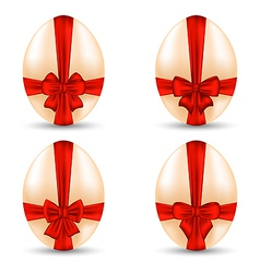 Easter set celebration egg wrapping red bow for vector image