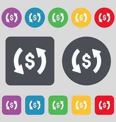 Exchange icon sign A set of 12 colored buttons vector
