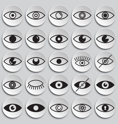 Eye icons set on plates background for graphic and vector
