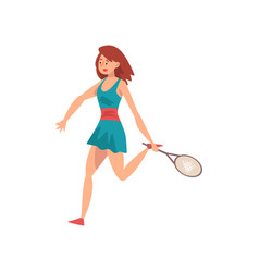 female tennis player with racket in her hand vector image
