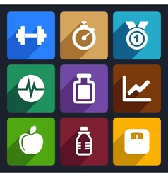 Fitness flat icons set 17 vector image