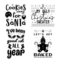 funny christmas calligraphy quotes set colorful vector image