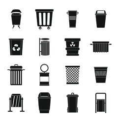 Garbage container icons set simple style vector