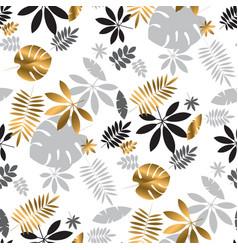 Geometric luxury jungle foliage seamless pattern vector