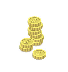 golden dollar coins isometric 3d icon vector image