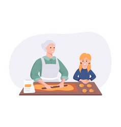 Grandmother and granddaughter couple cooking vector