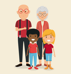 grandparents couple with kids avatars characters vector image