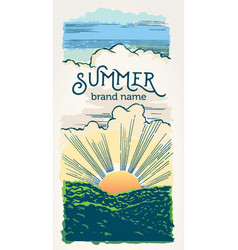 graphical summer landscape with sunrise over the vector image