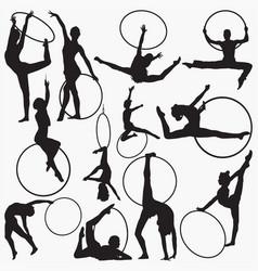 gymnastic rhythmic hoop silhouettes vector image
