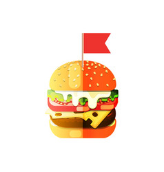 hamburger flat design in cartoon style vector image