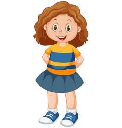 Happy brunette girl standing vector