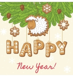 Happy new year as gingerbread cookies vector