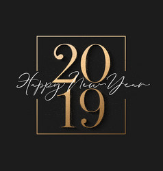 happy new year design black background with 2019 vector image