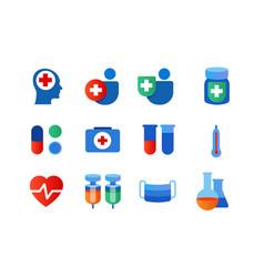 health icon set vaccine bottle face medical mask vector image
