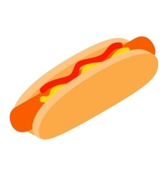 Hotdog with mustard and ketchup isometric 3d icon vector image