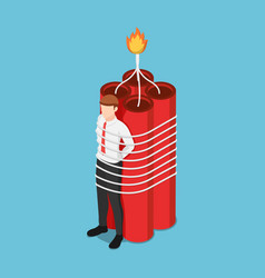 Isometric businessman tied with dynamite vector